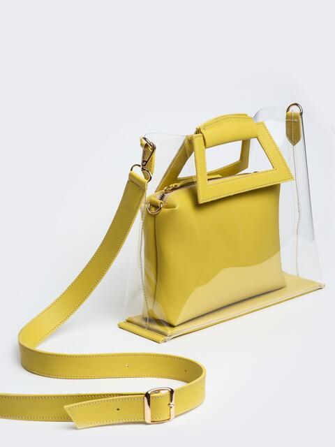f209181203ee Прозрачная сумка со съемной косметичкой желтого цвета - 22102, фото 1 –  интернет-магазин