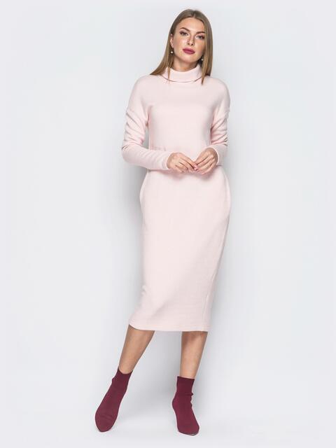 Пудровое платье с карманами и воротником-хомут - 18684, фото 1 – интернет-магазин Dressa