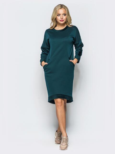 Теплое платье зеленого цвета с удлиненной спинкой - 16915, фото 1 – интернет-магазин Dressa