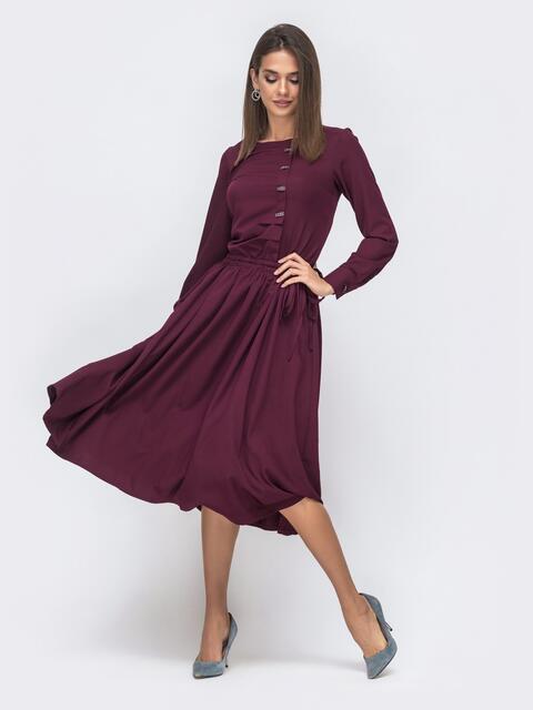 Бордовое платье с кулиской по талии и расклешенной юбкой 41495, фото 1