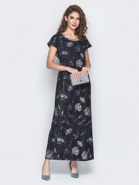 Черное принтованное платье с нитью люрекса - 18611, фото 1 – интернет-магазин Dressa