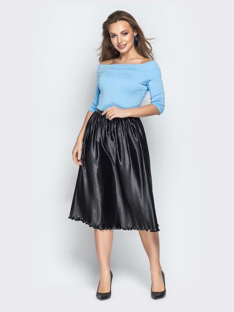 """Голубое платье с вырезом горловины """"анжелика"""" и юбкой-плиссе - 21040, фото 1 – интернет-магазин Dressa"""