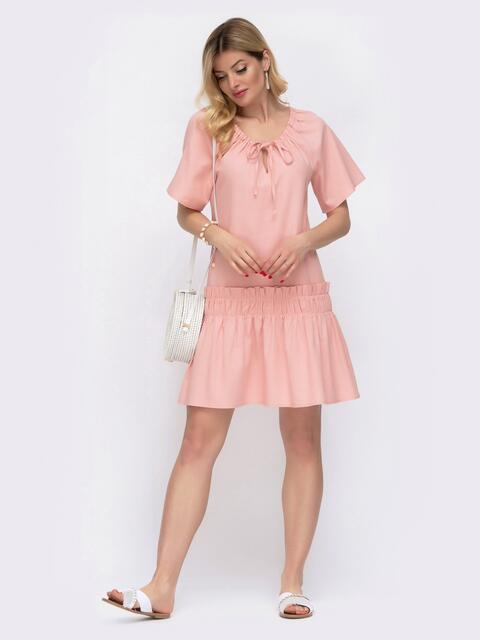 Льняное платье розового цвета с воланом по низу 48034, фото 1