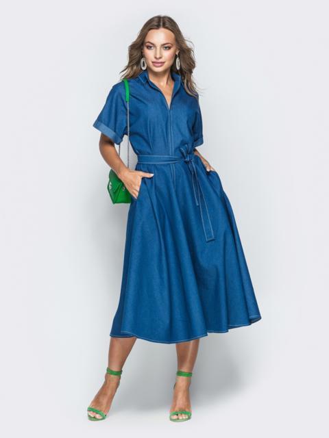 2184efc01c756ae Платье из денима с карманами синее - 38898, фото 1 – интернет-магазин Dressa
