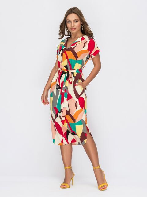 Платье прямого кроя с принтом красное 53927, фото 1