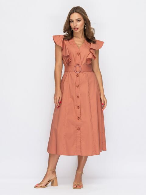 Платье с оборками и планкой с пуговицами терракотовое 53926, фото 1