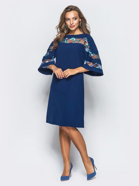 Платье тёмно-синего цвета с вышивкой на фатиновой вставке - 16805, фото 1 – интернет-магазин Dressa