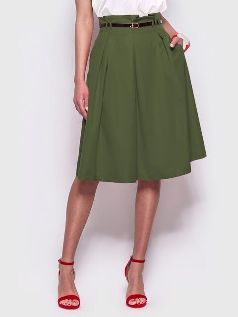 Расклешенная юбка цвета хаки с карманами по бокам - 38974, фото 1 – интернет-магазин Dressa
