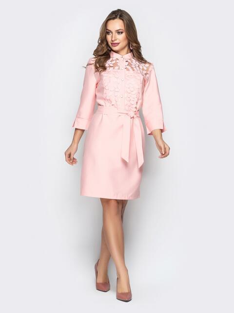 Розовое платье приталенного кроя со вставкой из фатина - 20357, фото 1 – интернет-магазин Dressa
