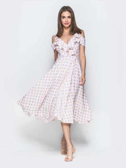 Розовое платье в горох на запах с открытыми плечами - 39515, фото 1 – интернет-магазин Dressa