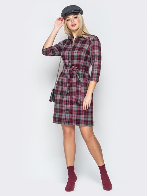 Серое платье-рубашка в клетку с вырезами по бокам - 20216, фото 1 – интернет-магазин Dressa