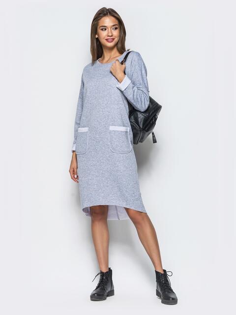 Теплое платье в спортивном стиле с необработанными краями светло-серое - 16936, фото 1 – интернет-магазин Dressa