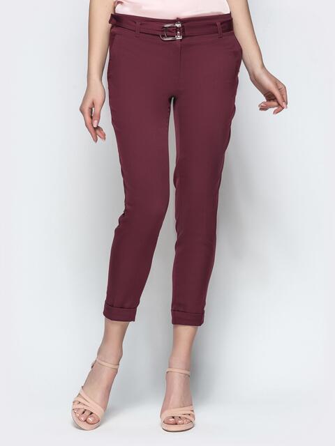 Укороченные брюки с поясом бордовые - 21858, фото 1 – интернет-магазин Dressa