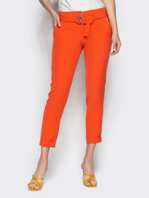 Укороченные брюки с поясом коралловые 21857, фото 1