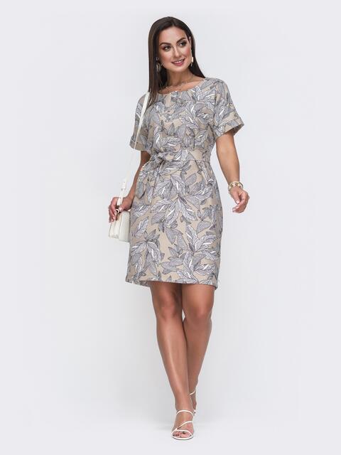 Бежевое платье батал прямого кроя с цветочным принтом 49658, фото 1