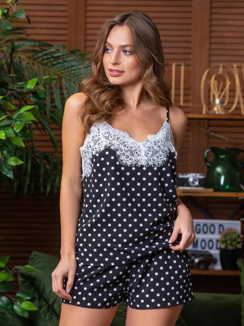 Чёрная пижама в горох из топа с кружевом и шортов - 21283, фото 1 – интернет-магазин Dressa