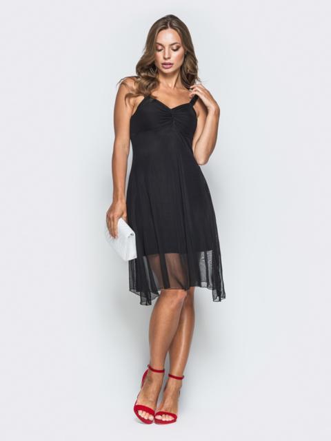 Черное платье с драпированным лифом и фатином 38684, фото 1