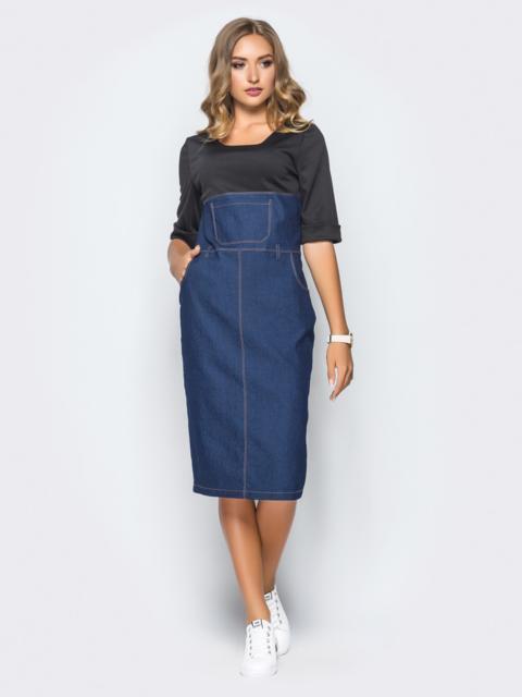Джинсовое платье, комбинированное черной двуниткой - 16125, фото 1 – интернет-магазин Dressa