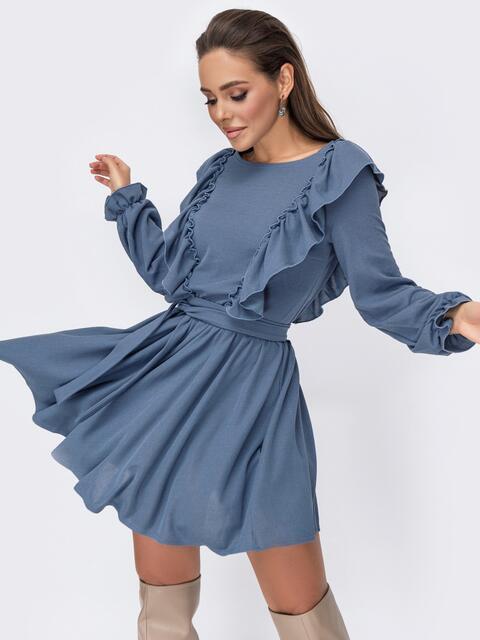 Короткое платье с рюшами по бокам голубое 52760, фото 1