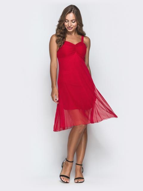 Красное платье с драпированным лифом и фатином 38675, фото 1