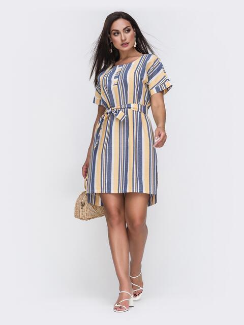 Платье батал прямого кроя в синюю полоску 49659, фото 1