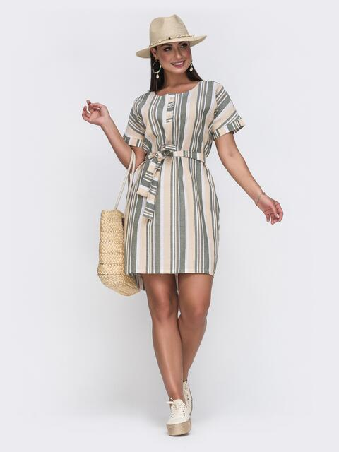 Платье батал прямого кроя в желтую полоску 49660, фото 1