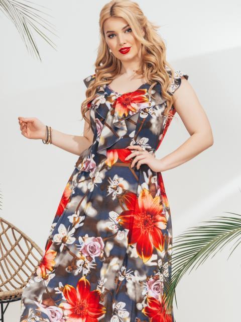 Платье батал с воланом по вырезу и красным принтом 46048, фото 1