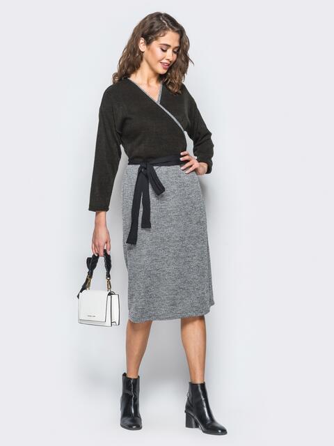 Платье из ангоры с запахом - 17376, фото 1 – интернет-магазин Dressa