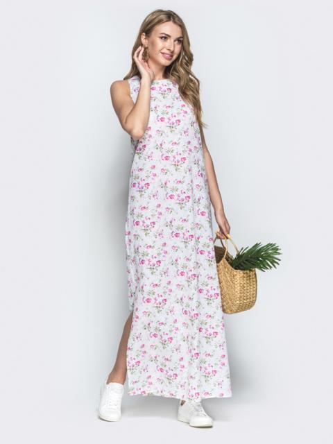 Платье из хлопка с цветочным принтом белое - 38892, фото 1 – интернет-магазин Dressa