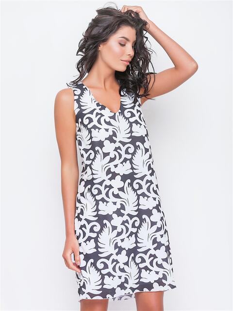Платье прямого кроя с V-образным вырезом - 13434, фото 1 – интернет-магазин Dressa