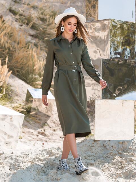Платье-рубашка цвета хаки с поясом - 41608, фото 1 – интернет-магазин Dressa
