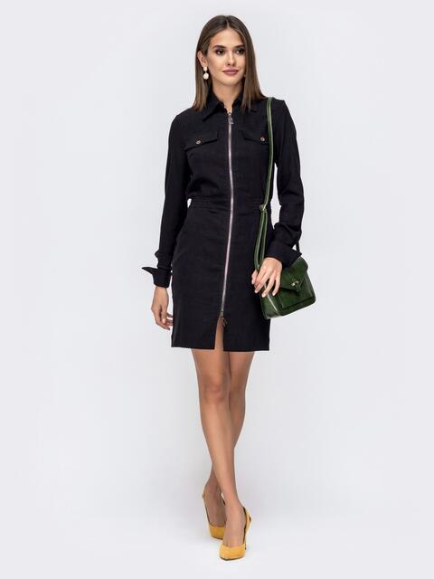 Платье с резинкой по талии и молнией чёрное 41400, фото 1