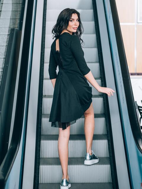 Платье с вырезом и фактурной сеткой на спинке - 11104, фото 1 – интернет-магазин Dressa