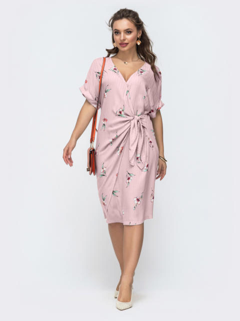 Пудровое платье прямого кроя с принтом 46876, фото 1