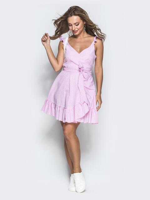Розовый сарафан на запах в клетку с оборкой по низу - 39224, фото 1 – интернет-магазин Dressa