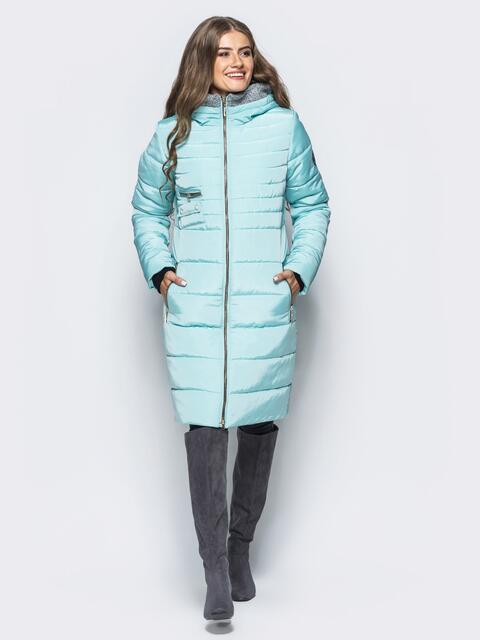 Зимняя куртка с искусственной овчиной на капюшоне голубая - 16699, фото 1 – интернет-магазин Dressa