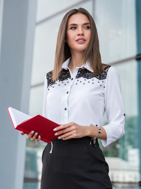 Белая блузка с кружевной кокеткой - 39958, фото 1 – интернет-магазин Dressa