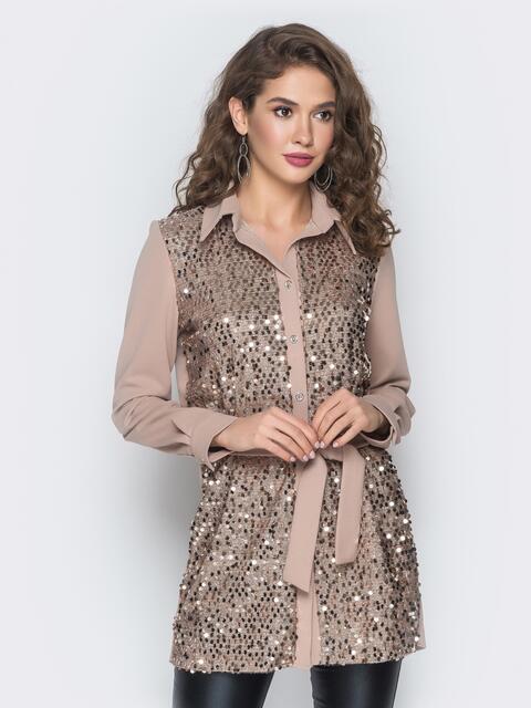 Бежевая рубашка с густой россыпью пайеток - 18666, фото 1 – интернет-магазин Dressa