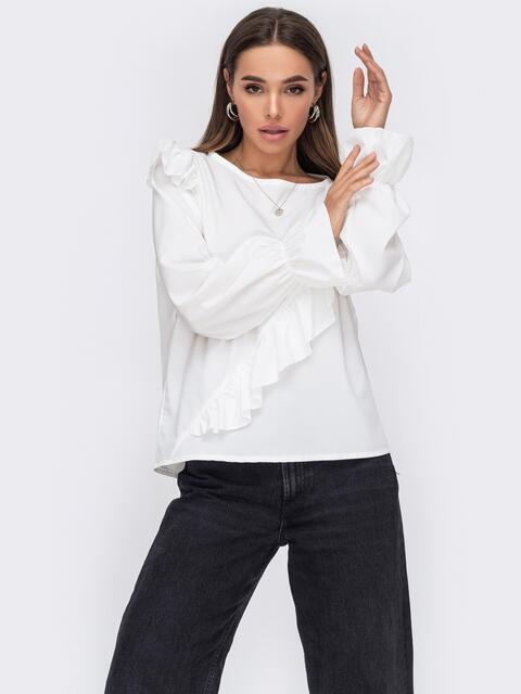 Блузка из софта с рюшами по полочке молочная 53296, фото 1