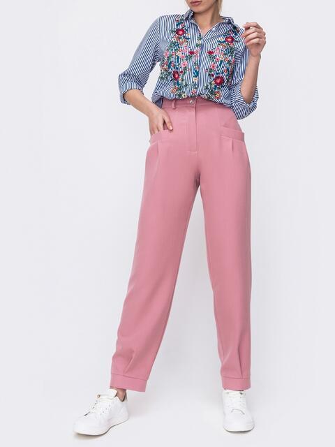Брюки из костюмной ткани розового цвета 47037, фото 1