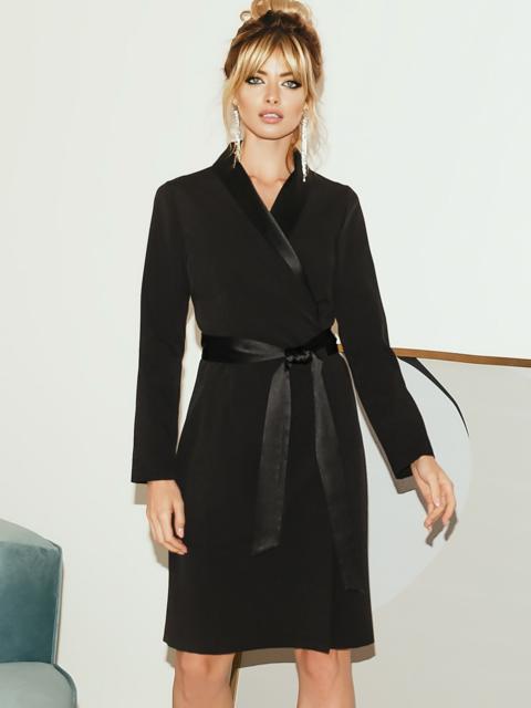 Чёрное платье на запах с атласным поясом и лацканами 51700, фото 1