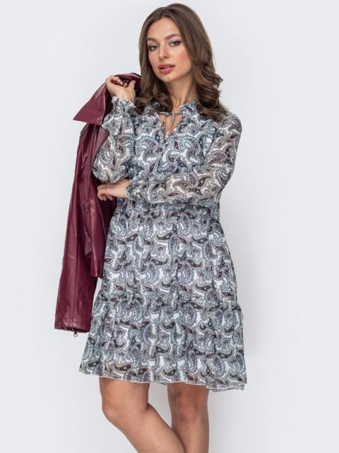 Расклешенное платье из шифона с принтом белое 53101, фото 1