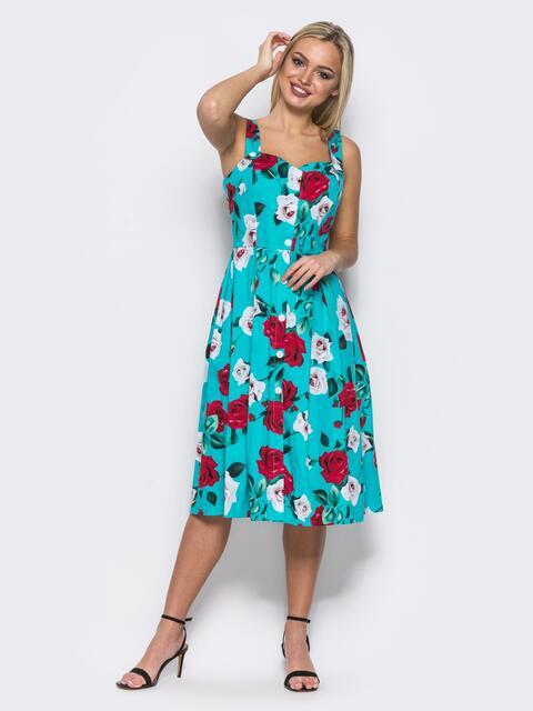 2e78ff95aa45 Голубой сарафан на пуговицах с цветочным принтом - 11922, фото 1 –  интернет-магазин
