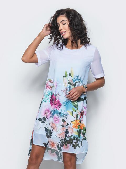 Платье из шифона с принтом - 11642, фото 1 – интернет-магазин Dressa