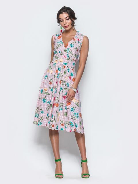 Платье на запах с цветочным принтом без рукавов розовое - 11575, фото 1 – интернет-магазин Dressa