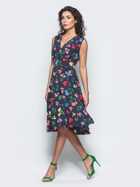 Платье на запах с цветочным принтом без рукавов темно-синее - 11574, фото 1 – интернет-магазин Dressa