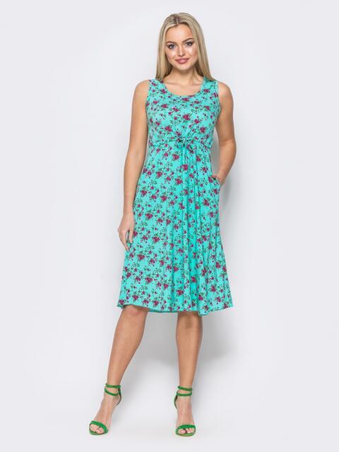 Платье с завязками на талии с флористическим принтом бирюзовое - 11586, фото 1 – интернет-магазин Dressa