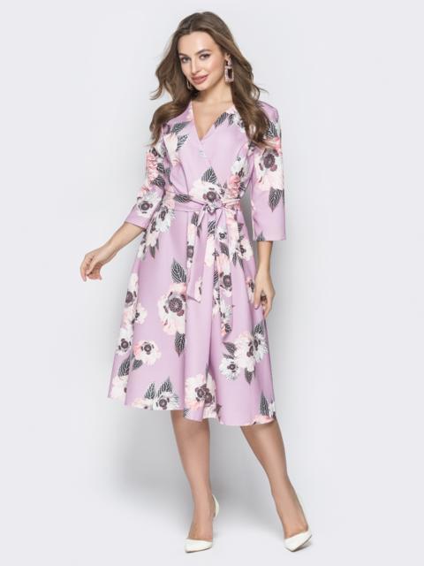 Принтованное платье с V-вырезом и юбкой-солнце розовое - 19950, фото 1 – интернет-магазин Dressa