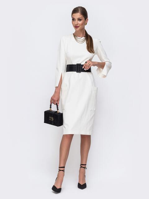 Приталенное платье с разрезами на рукавах молочное 49452, фото 1