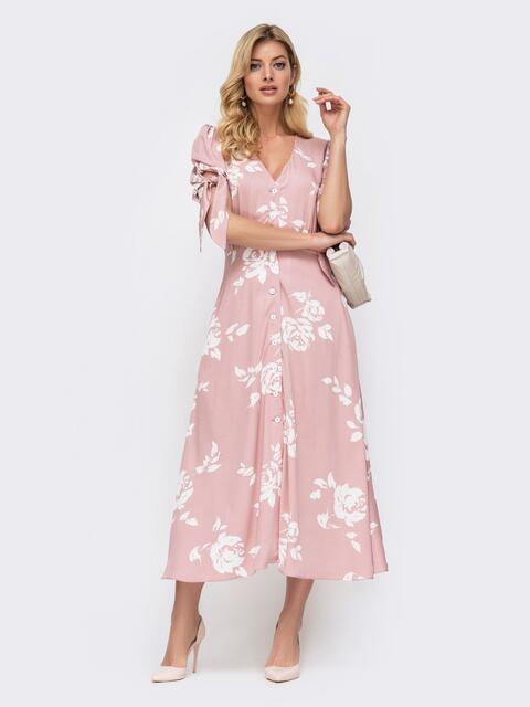 Розовое платье с принтом и рукавом-фонарик - 45920, фото 1 – интернет-магазин Dressa